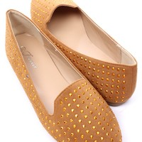 TAN FAUX SUEDE STUDDED ROUND CLOSED TOE LOAFER FLATS