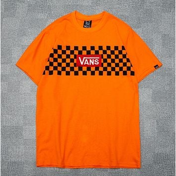 Vans Fashion New Embroidery Letter And Plaid Print Women Men Top T-Shirt Orange