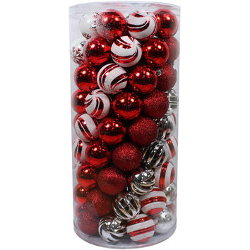 Holiday Time Christmas Ornaments Shatterproof, Set of 101