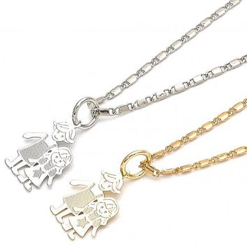 Gold Layered Fancy Necklace, Little Girl and Star Design, Golden Tone
