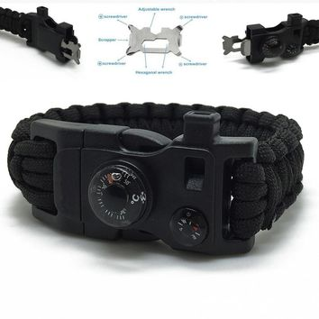 Men Outdoor Camping Rescue Tool, Paracord Parachute Cord Wristbands Emergency Rope Survival Kits Flint Scraper Whistle Buckle