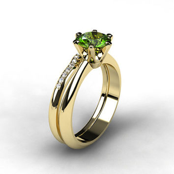 Best peridot wedding sets products on wanelo for Peridot wedding ring set