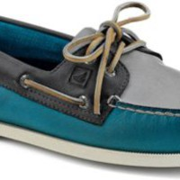 Sperry Top-Sider Authentic Original Burnished Leather 2-Eye Boat Shoe Teal/GrayBlueLeather, Size 13M  Men's Shoes