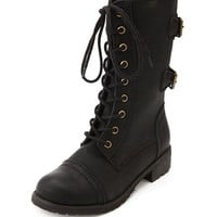 Double Buckle Lace-Up Combat Boot: Charlotte Russe