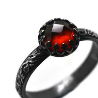 Hessonite Garnet Renaissance Ring, Oxidized Silver Ring, Natural Gemstone Jewelry, Black Silver Gothic Ring