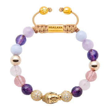 Women's Beaded Bracelet with Amethyst, Rose Quartz, Blue Lace Agate and Gold Buddha