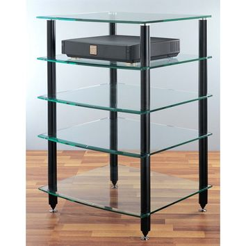 AGR Series 5 Shelf Audio Rack Black Silver Tempered Glass