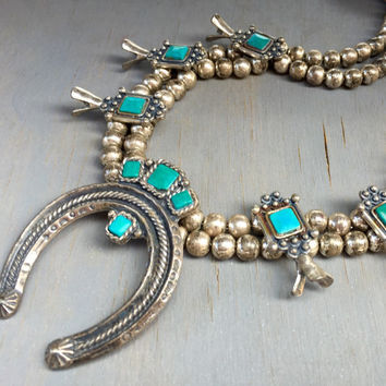 Vintage Squash Blossom Necklace Faux Turquoise 1950s Designer Jewelry Sancrest Southwestern Fashion