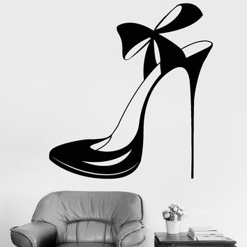 Vinyl Wall Decal Beautiful Shoe With Bow Store Shop Fashion Stickers Unique Gift (1220ig)