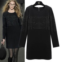 Black Sequin Long-Sleeve Dress