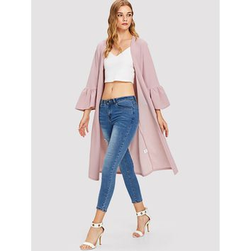 Bell Sleeve Duster Coat Pink