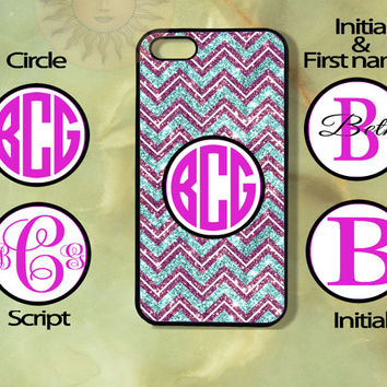 Purple and Teal Sparkling Monogram Chevron -iPhone 5, 4s, 4, Samsung GS3 GS4, Ipod 5case-Silicone Rubber / Hard Plastic Case, Phone cover