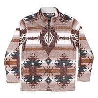 Double Plush Symbols 1/4 Zip Pullover in Brown by True Grit - FINAL SALE