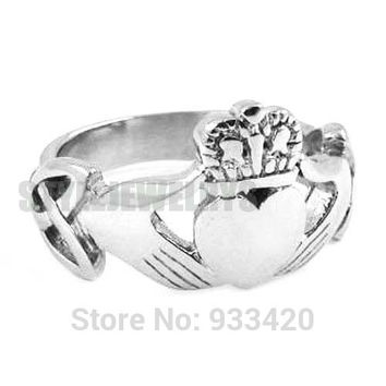 10 Free shipping! Claddagh Style Hand to Hold a Heart with Crown Ring Stainless Steel Jewelry Celtic Knot Wedding Ring SWR0309B