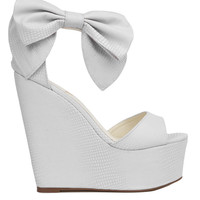 Privileged by J. C. Dossier Ankle Bow White Platform Wedges