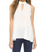 White Chiffon Sleeveless Front Cut-out Shirt with Pleated Back
