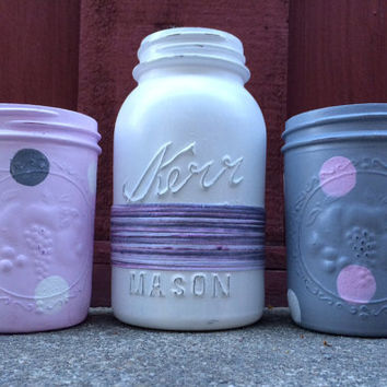 Decorative Mason Jars - Set of Three -  Distressed Jars in Purple, White and Pink