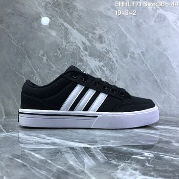 HCXX A730 Adidas NEO campus opens mouth to laugh canvas board shoe Black White