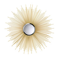 "Golden Sunburst Rays Wall Mirror 32"" tall"