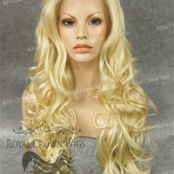 """26"""" Heat Safe Synthetic Lace Front in Curly Texture """"Calypso"""" in Platinum Blonde"""
