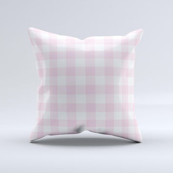 Light Pink and White Plaid Pattern ink-Fuzed Decorative Throw Pillow