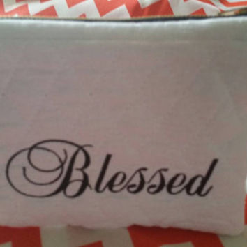 Monogrammed Quilted Zippered Pouch Cosmetic Bag