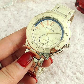 PANDORA Fashion Woman Men Quartz Watch Business Watches Wrist Watch Lovers Watch Gold