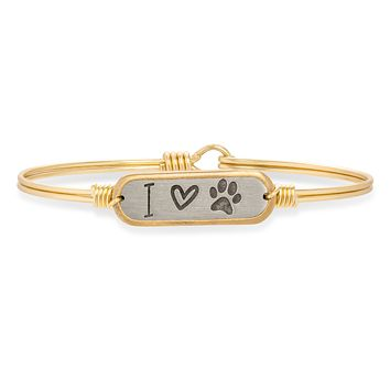 I Love Paw Print Bangle Bracelet