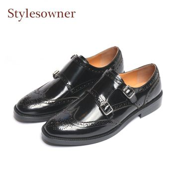 Stylesowner black patent leather oxfords vintage fretwork buckle bullock shoes women round toe flat british style single shoes