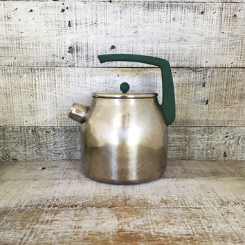 Tea Kettle Mepra Stainless Steel Tea Kettle Mid Century Metal Teapot with Resin Handle Vintage Whistling Tea Kettle Made in Italy Teapot