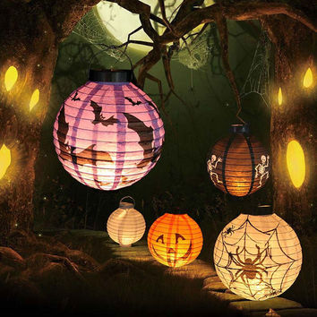 1 Pc Halloween Decoration LED Paper Pumpkin Light Hanging Lantern Lamp Halloween Props Outdoor Party Supplies
