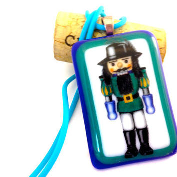 Fused Glass Pendant Necklace Nutcracker Green  515