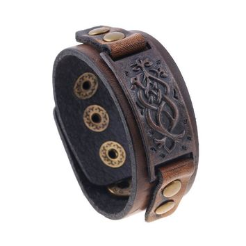 Male Cow Leather Bracelets Biker Jewelry Men's Bracelet Retro Brown Wristband Bangles Man Jewelry