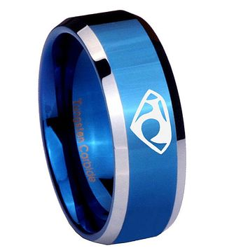 10mm House of Van Beveled Edges Blue 2 Tone Tungsten Carbide Mens Bands Ring