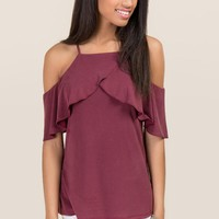 Jania High Neck Ruffled Cold Shoulder