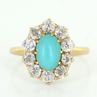 Vintage Art Deco Diamond Turquoise Princess Ring 18 Karat Gold Vintage Jewelry Cocktail