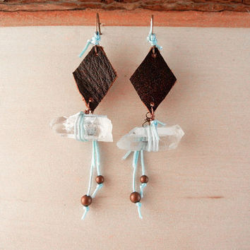 Leather and quartz earrings - recycled leather diamonds and raw crystal quartz points with light blue cord - blue earrings