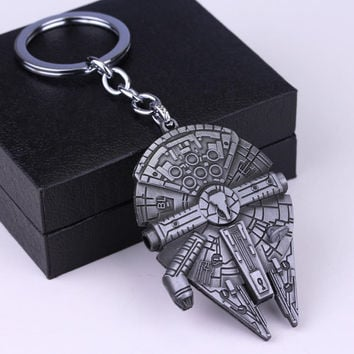 High Quality Star Wars Millennium Falcon Keychain 4 Colors Alloy Spacecraft Model Beer Bottle Opener Key Chain Pendant For Fans