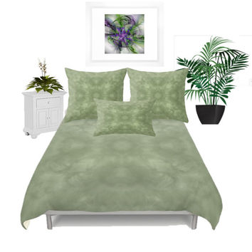 Duvet Cover - 3 different sizes to Choose From, Without Inserts, Bedroom, Home decor, Romantic, Green, Sage, Pastel, With or without Shams