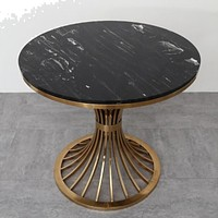 Unique Black  With Golden Finish Round Marble Side Table