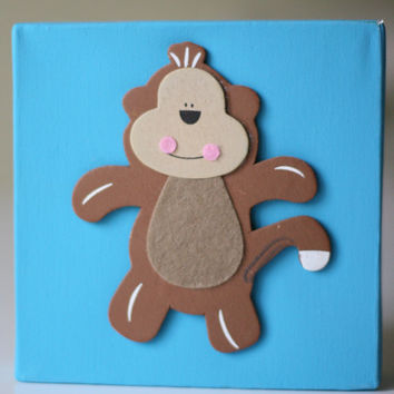 Kids Decor Canvas Artwork with 3D Monkey Appliqué - 6x6 inches - Nursery Playroom Childrens Room - READY to SHIP