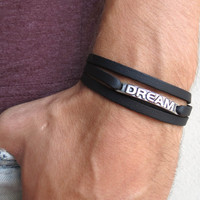 Men's Bracelet - Black Leather Bracelet With Silver Plated Word 'Dream' - Mens Jewelry - Word Jewelry - Gift for Him