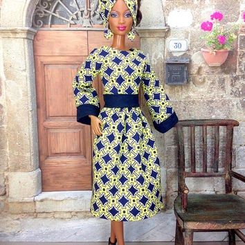Barbie Doll African Print Skirt and Top - Celery Green and Navy Blue Fashion Doll Skirt and Top, Head-wrap, Earrings, and Shoes