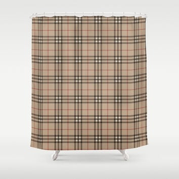 Burberry plaid Designer pattern Shower Curtain by All Is One