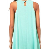 Green Sleeveless A-Line Pleated Mini Dress