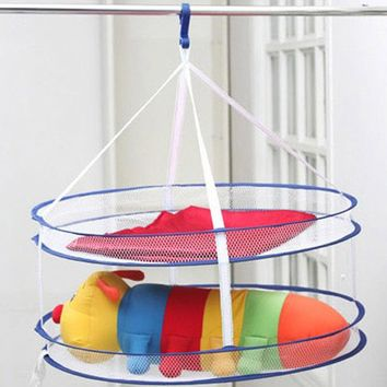 Drying Laundry Bag 2 Layers Clothes Drying Rack Folding Hanging Hanger Clothes Laundry Underwear Basket Dryer Net Bags