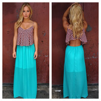 Teal Zig Zag Emma Maxi Dress
