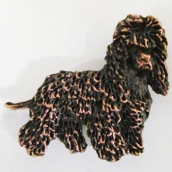 Copper ~ Full Body Irish Water Spaniel ~ Lapel Pin / Brooch ~ DC402F