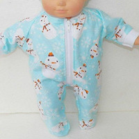 "BITTY BABY PAJAMAS, 15 inch Bitty Baby Clothes, Adorable ""Blue Sowmen and Snowflake"" Pajamas! 15 inch Ag Dolls Bitty Baby, Christmas Winter"