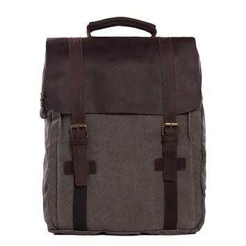 Waxed Canvas and Leather Double strap Backpack - Dark Grey
